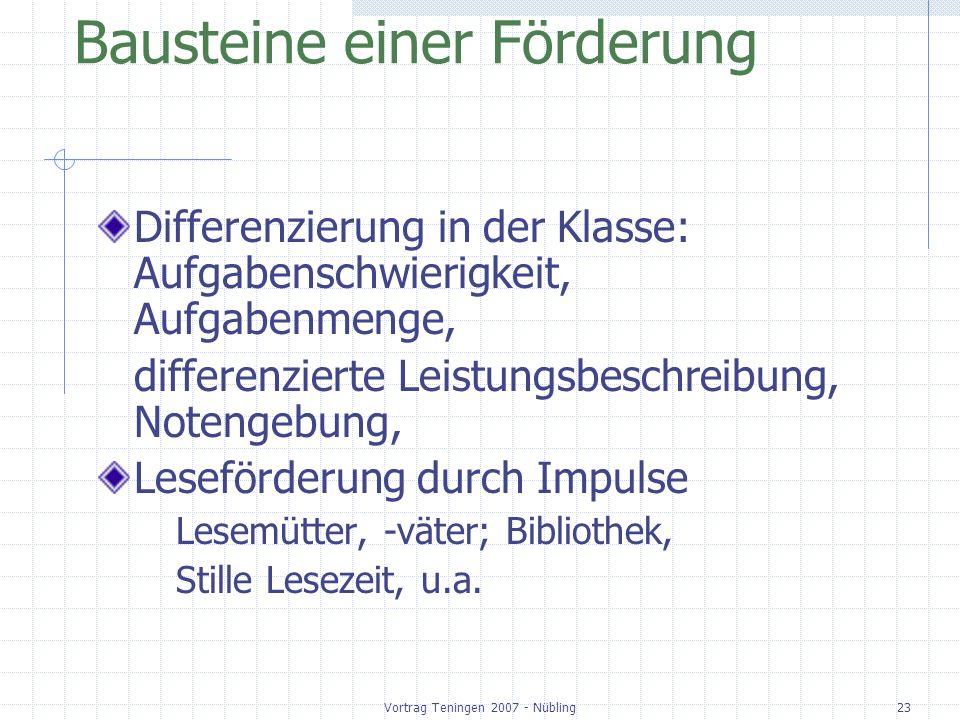 Vortrag Teningen 2007 - Nübling23 Bausteine einer Förderung Differenzierung in der Klasse: Aufgabenschwierigkeit, Aufgabenmenge, differenzierte Leistu