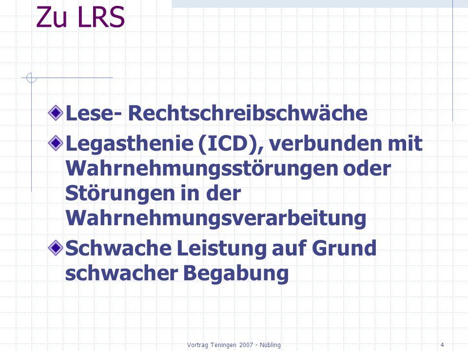 Vortrag Teningen 2007 - Nübling5 Zu LRS Lese- Rechtschreibschwäche meistens nicht isoliert, sondern kombiniert ADS ADHS motorische Defizite ….