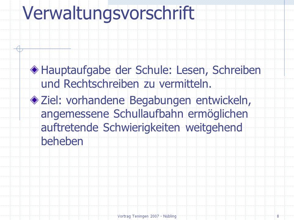 Vortrag Teningen 2007 - Nübling29 Arbeitsbereiche im Fach Deutsch GS im Bildungsplan Sprechen und Zuhören20 % Lesen /Umgang mit Texten und Medien 40 % Schreiben: Texte schreiben Rechtschreiben 40 % Sprachbewusstsein entwickeln In den anderen Bereichen integriert