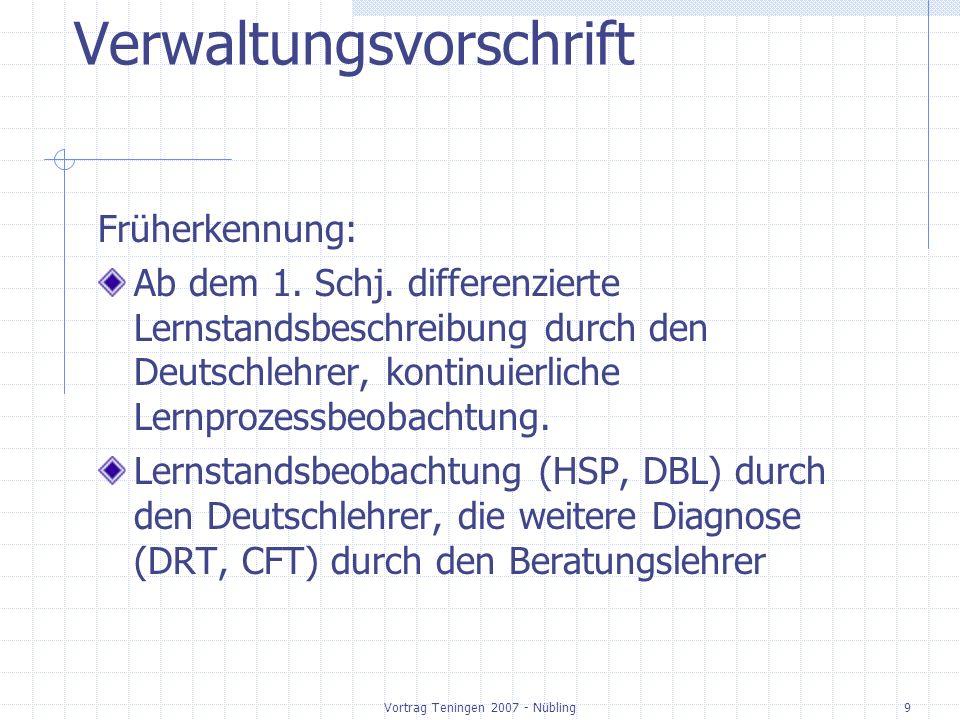 Vortrag Teningen 2007 - Nübling10 Verwaltungsvorschrift Aufgabe der Schule: Fördermaßnahmen in Klasse 1 + 2, Individualisierung oder Kleingruppen; LRS - Kurse zusätzlich einrichten.