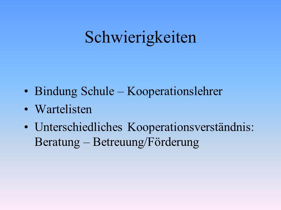 Schwierigkeiten Bindung Schule – Kooperationslehrer Wartelisten Unterschiedliches Kooperationsverständnis: Beratung – Betreuung/Förderung