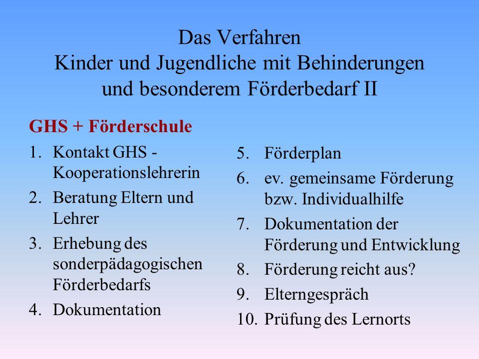 Das Verfahren Kinder und Jugendliche mit Behinderungen und besonderem Förderbedarf II GHS + Förderschule 1.Kontakt GHS - Kooperationslehrerin 2.Beratu