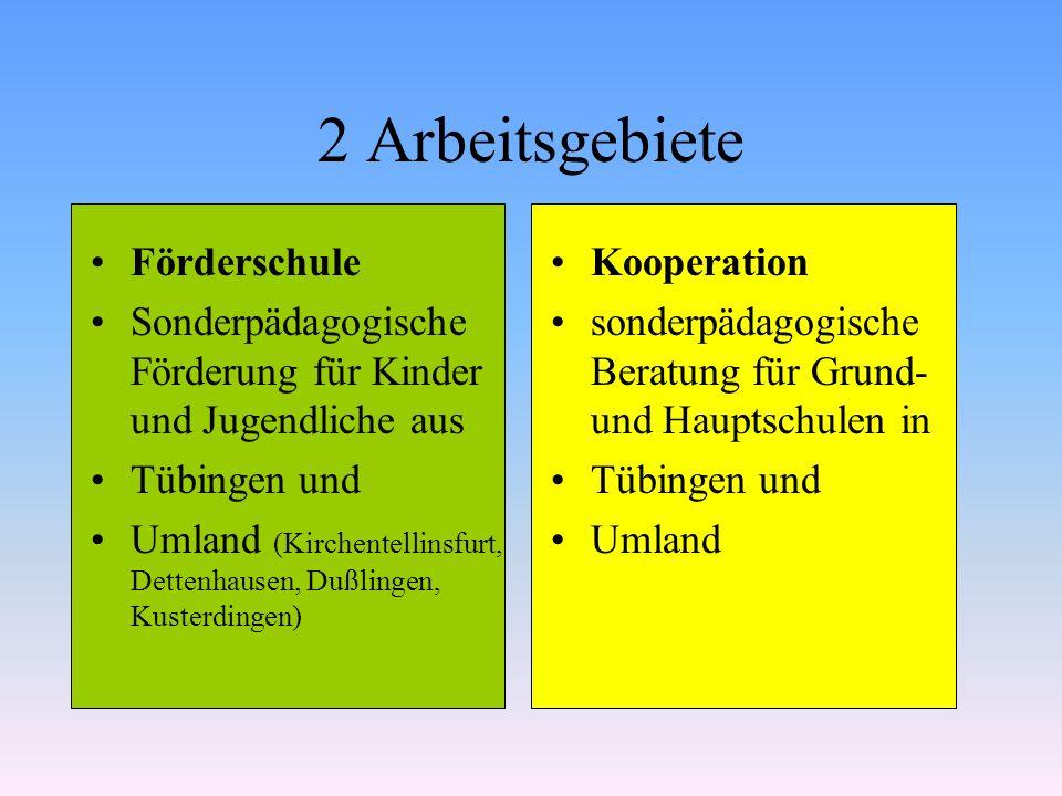 2 Arbeitsgebiete Förderschule Sonderpädagogische Förderung für Kinder und Jugendliche aus Tübingen und Umland (Kirchentellinsfurt, Dettenhausen, Dußli