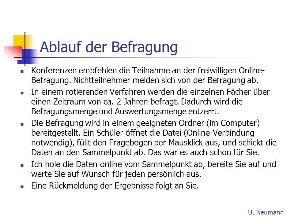 Ablauf der Befragung Konferenzen empfehlen die Teilnahme an der freiwilligen Online- Befragung. Nichtteilnehmer melden sich von der Befragung ab. In e