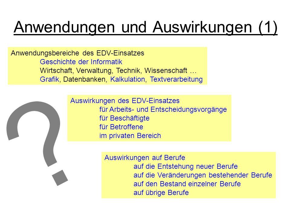 ? Anwendungen und Auswirkungen (1) Anwendungsbereiche des EDV-Einsatzes Geschichte der Informatik Wirtschaft, Verwaltung, Technik, Wissenschaft … Graf