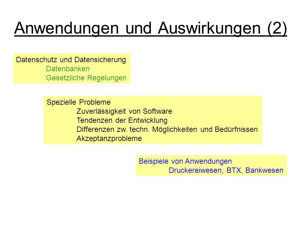 Anwendungen und Auswirkungen (2) Datenschutz und Datensicherung Datenbanken Gesetzliche Regelungen Spezielle Probleme Zuverlässigkeit von Software Ten