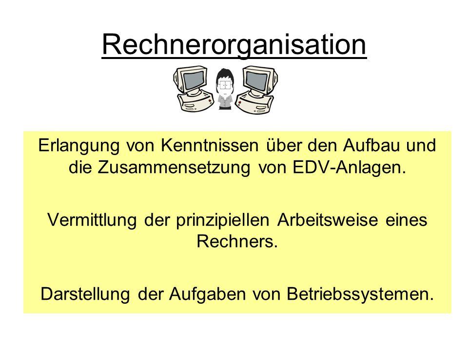 Rechnerorganisation Erlangung von Kenntnissen über den Aufbau und die Zusammensetzung von EDV-Anlagen. Vermittlung der prinzipiellen Arbeitsweise eine