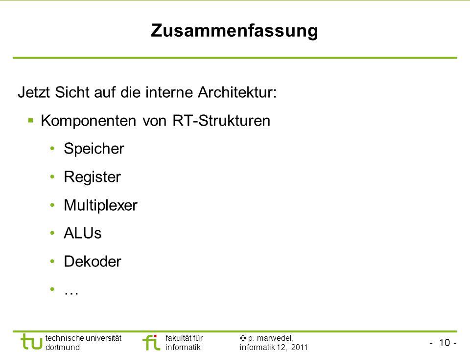 - 10 - technische universität dortmund fakultät für informatik p. marwedel, informatik 12, 2011 Zusammenfassung Jetzt Sicht auf die interne Architektu
