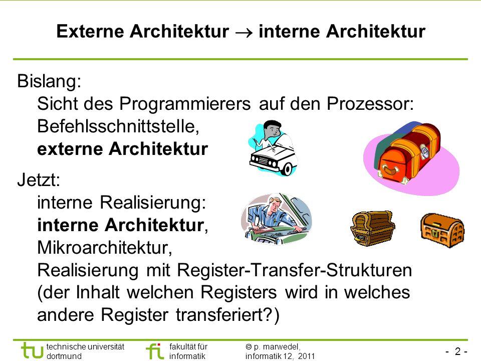 - 2 - technische universität dortmund fakultät für informatik p. marwedel, informatik 12, 2011 Externe Architektur interne Architektur Bislang: Sicht