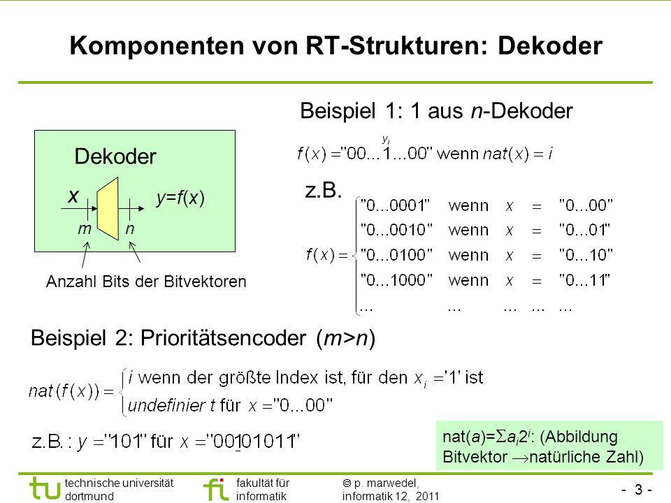 - 3 - technische universität dortmund fakultät für informatik p. marwedel, informatik 12, 2011 Komponenten von RT-Strukturen: Dekoder Dekoder y=f(x)y=
