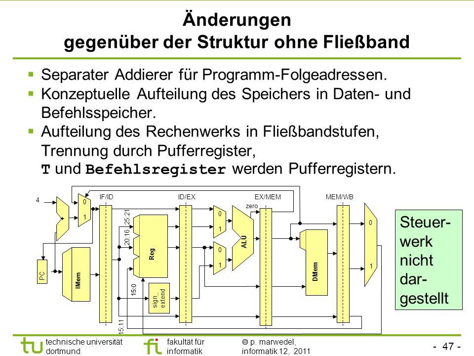- 47 - technische universität dortmund fakultät für informatik p. marwedel, informatik 12, 2011 Änderungen gegenüber der Struktur ohne Fließband Separ