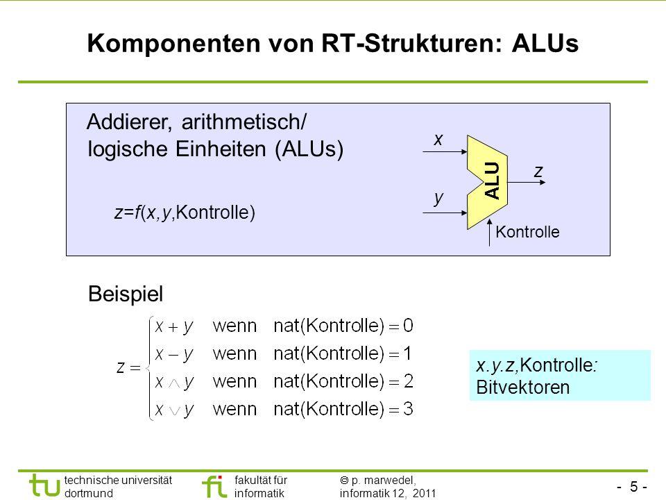 - 5 - technische universität dortmund fakultät für informatik p. marwedel, informatik 12, 2011 Komponenten von RT-Strukturen: ALUs Addierer, arithmeti