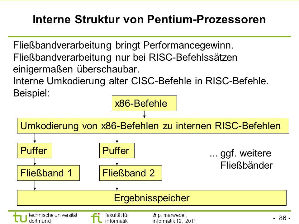 - 86 - technische universität dortmund fakultät für informatik p. marwedel, informatik 12, 2011 Interne Struktur von Pentium-Prozessoren Fließbandvera