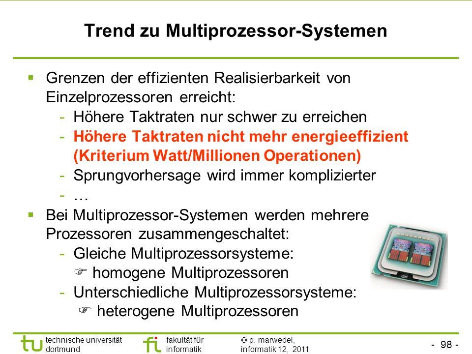 - 98 - technische universität dortmund fakultät für informatik p. marwedel, informatik 12, 2011 Trend zu Multiprozessor-Systemen Grenzen der effizient