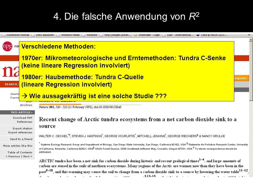 4. Die falsche Anwendung von R 2 Verschiedene Methoden: 1970er: Mikrometeorologische und Erntemethoden: Tundra C-Senke (keine lineare Regression invol