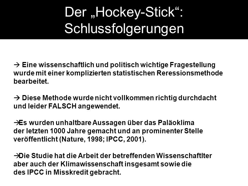 Der Hockey-Stick: Schlussfolgerungen Eine wissenschaftlich und politisch wichtige Fragestellung wurde mit einer komplizierten statistischen Reressionsmethode bearbeitet.