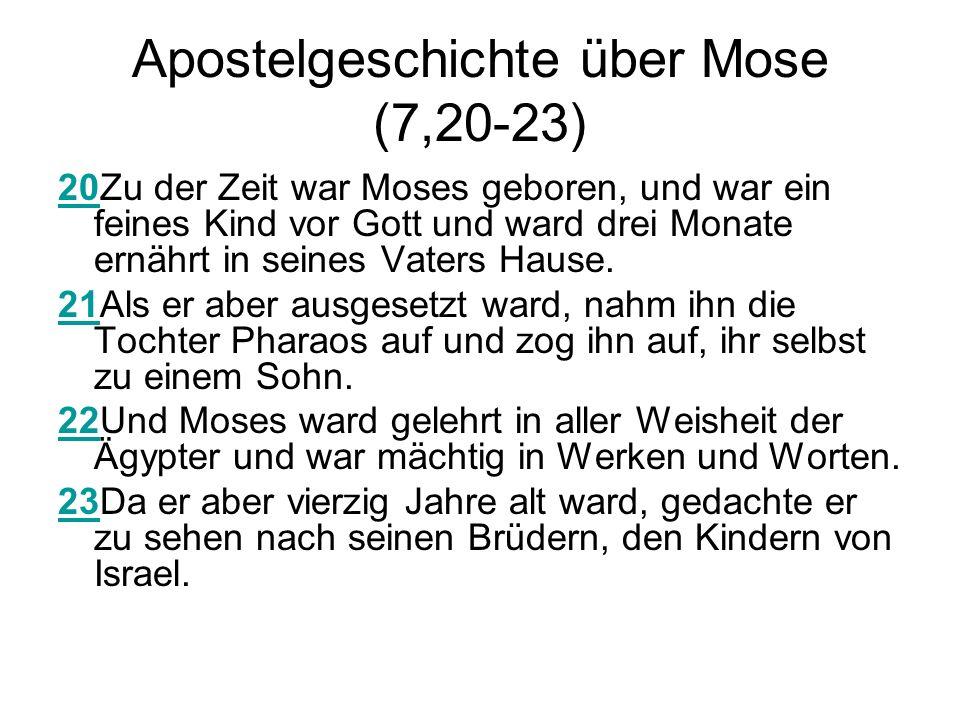 Apostelgeschichte über Mose (7,20-23) 2020Zu der Zeit war Moses geboren, und war ein feines Kind vor Gott und ward drei Monate ernährt in seines Vaters Hause.