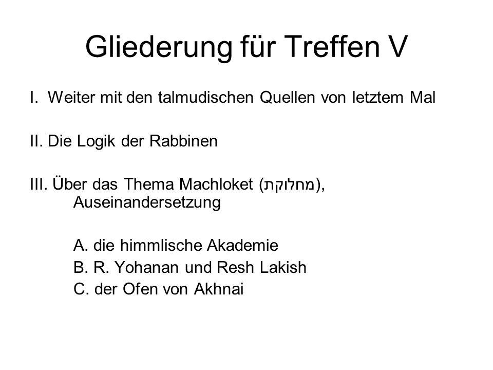 Gliederung für Treffen V I. Weiter mit den talmudischen Quellen von letztem Mal II.