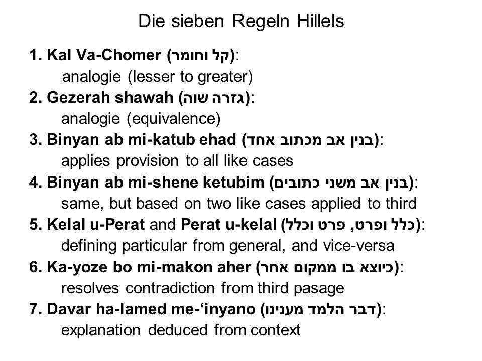 Die sieben Regeln Hillels 1) Kal wa-chomer, der Schluß vom Leichten auf das Schwere: Ein Schluß vom Leichteren auf as Schwere vom Weizenkorn: dieses wird nackt begraben und kommt bekleidet heraus.
