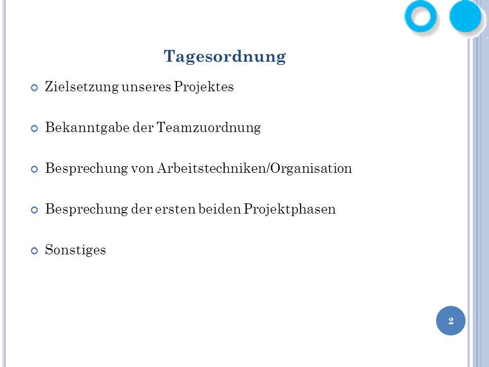 2 Tagesordnung Zielsetzung unseres Projektes Bekanntgabe der Teamzuordnung Besprechung von Arbeitstechniken/Organisation Besprechung der ersten beiden