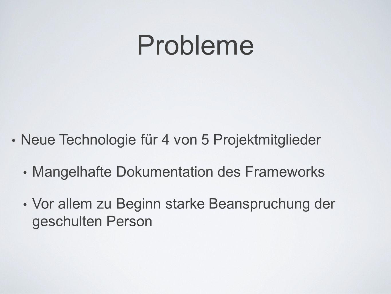 Probleme Neue Technologie für 4 von 5 Projektmitglieder Mangelhafte Dokumentation des Frameworks Vor allem zu Beginn starke Beanspruchung der geschulten Person