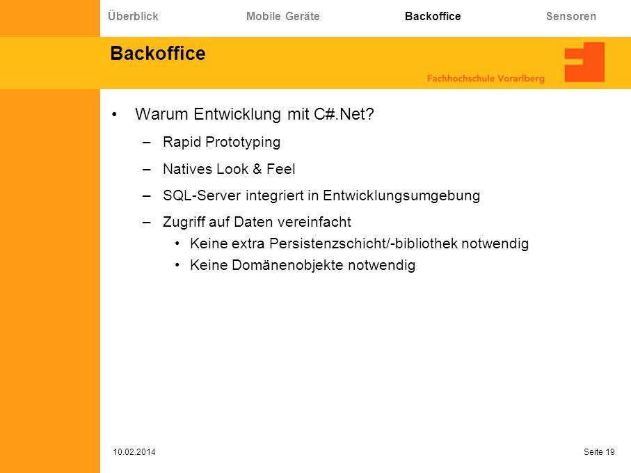 Backoffice Warum Entwicklung mit C#.Net.