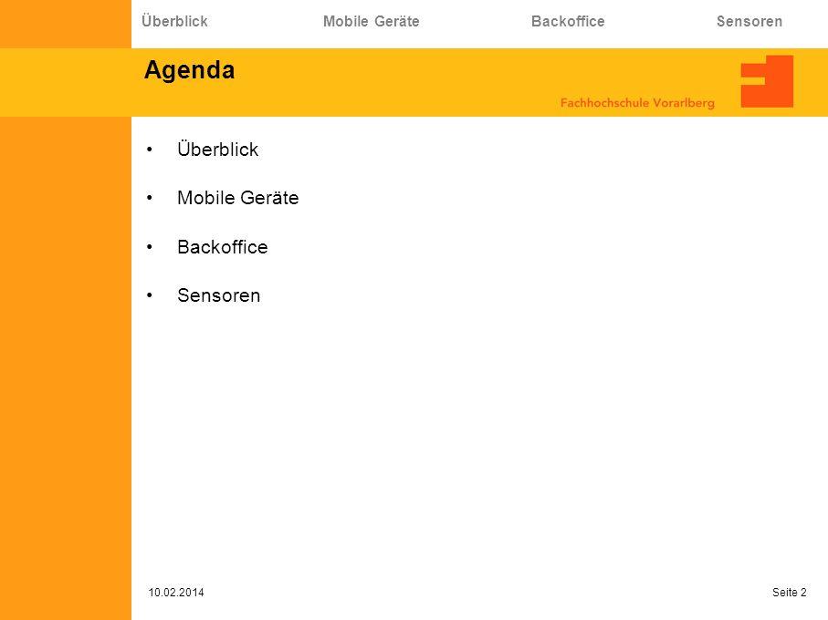 Agenda Überblick Mobile Geräte Backoffice Sensoren 10.02.2014 Seite 2 Überblick Mobile Geräte Backoffice Sensoren