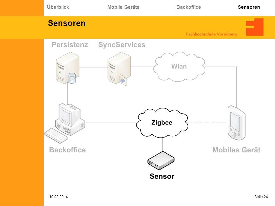 Sensoren 10.02.2014 Seite 24 Überblick Mobile Geräte Backoffice Sensoren