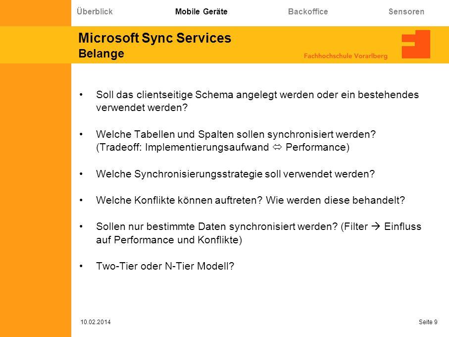 Microsoft Sync Services Architektur 10.02.2014 Seite 10 Überblick Mobile Geräte Backoffice Sensoren