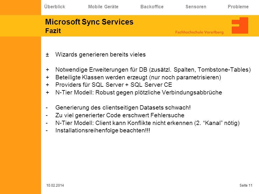 Microsoft Sync Services Fazit ±Wizards generieren bereits vieles +Notwendige Erweiterungen für DB (zusätzl. Spalten, Tombstone-Tables) +Beteiligte Kla