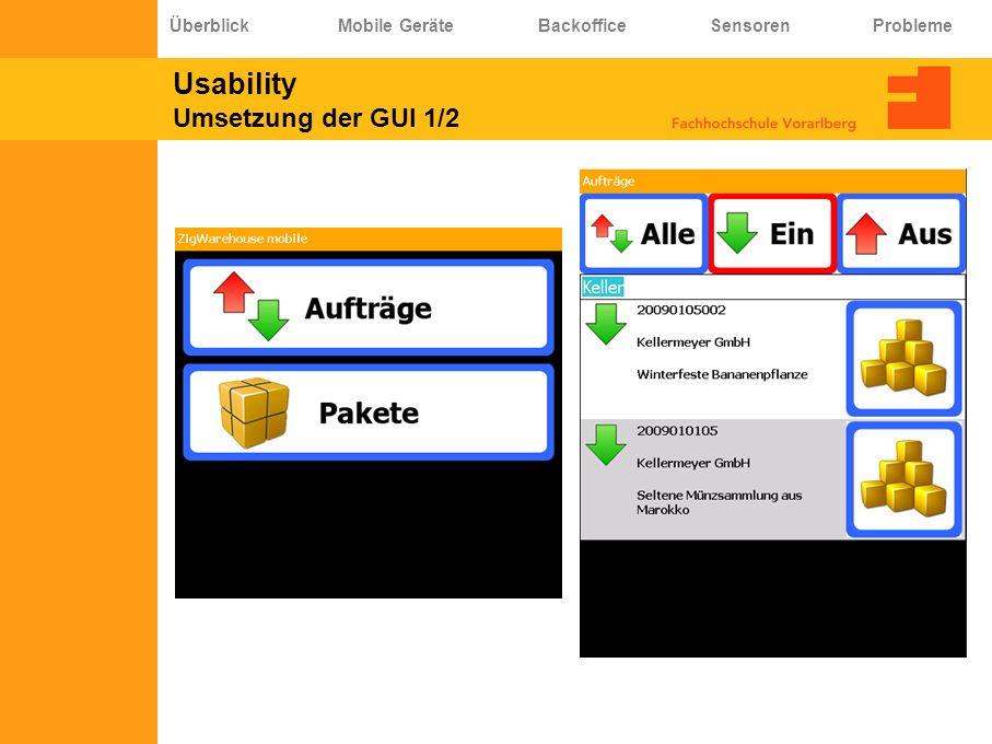 Usability Umsetzung der GUI 1/2 Überblick Mobile Geräte Backoffice Sensoren Probleme