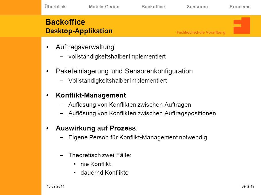 Backoffice Desktop-Applikation Auftragsverwaltung –vollständigkeitshalber implementiert Paketeinlagerung und Sensorenkonfiguration –Vollständigkeitsha