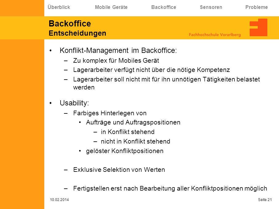 Backoffice Entscheidungen Konflikt-Management im Backoffice: –Zu komplex für Mobiles Gerät –Lagerarbeiter verfügt nicht über die nötige Kompetenz –Lag
