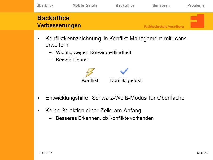 Backoffice Verbesserungen Konfliktkennzeichnung in Konflikt-Management mit Icons erweitern –Wichtig wegen Rot-Grün-Blindheit –Beispiel-Icons: Entwickl