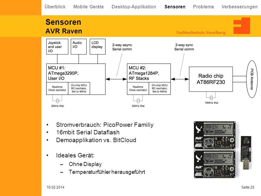 Sensoren AVR Raven 10.02.2014 Seite 25 Überblick Mobile Geräte Desktop-Applikation Sensoren Probleme Verbesserungen Stromverbrauch: PicoPower Familiy