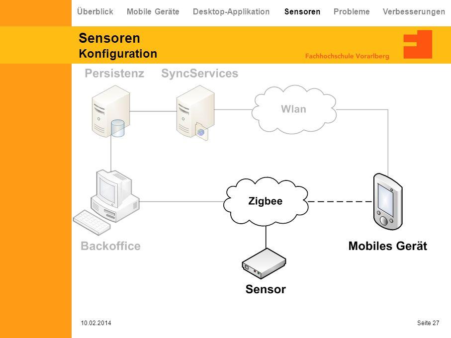 Sensoren Konfiguration 10.02.2014 Seite 27 Überblick Mobile Geräte Desktop-Applikation Sensoren Probleme Verbesserungen