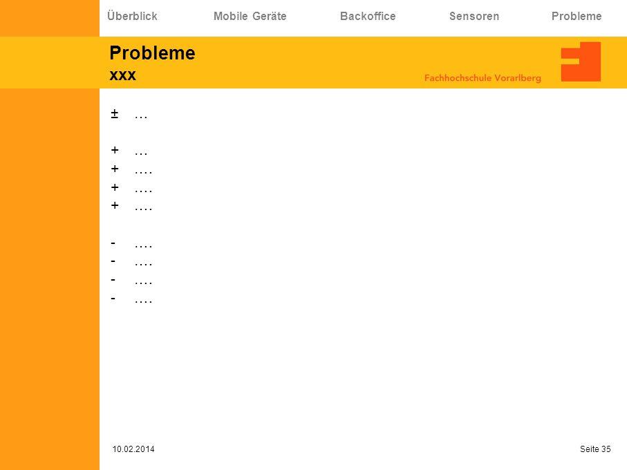 Probleme xxx ±… +… +…. -…. 10.02.2014 Seite 35 Überblick Mobile Geräte Backoffice Sensoren Probleme