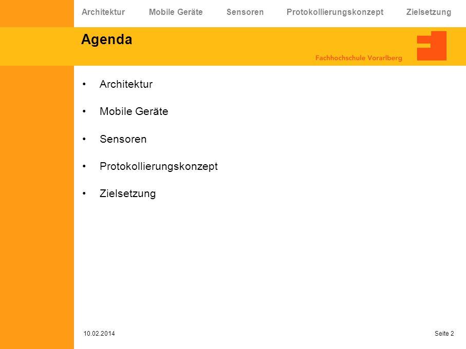 Agenda Architektur Mobile Geräte Sensoren Protokollierungskonzept Zielsetzung 10.02.2014 Seite 2 Architektur Mobile Geräte Sensoren Protokollierungsko