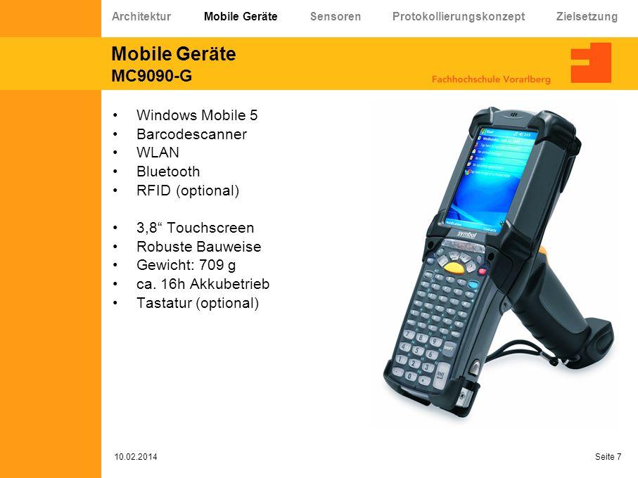 Mobile Geräte MC9090-G Windows Mobile 5 Barcodescanner WLAN Bluetooth RFID (optional) 3,8 Touchscreen Robuste Bauweise Gewicht: 709 g ca. 16h Akkubetr
