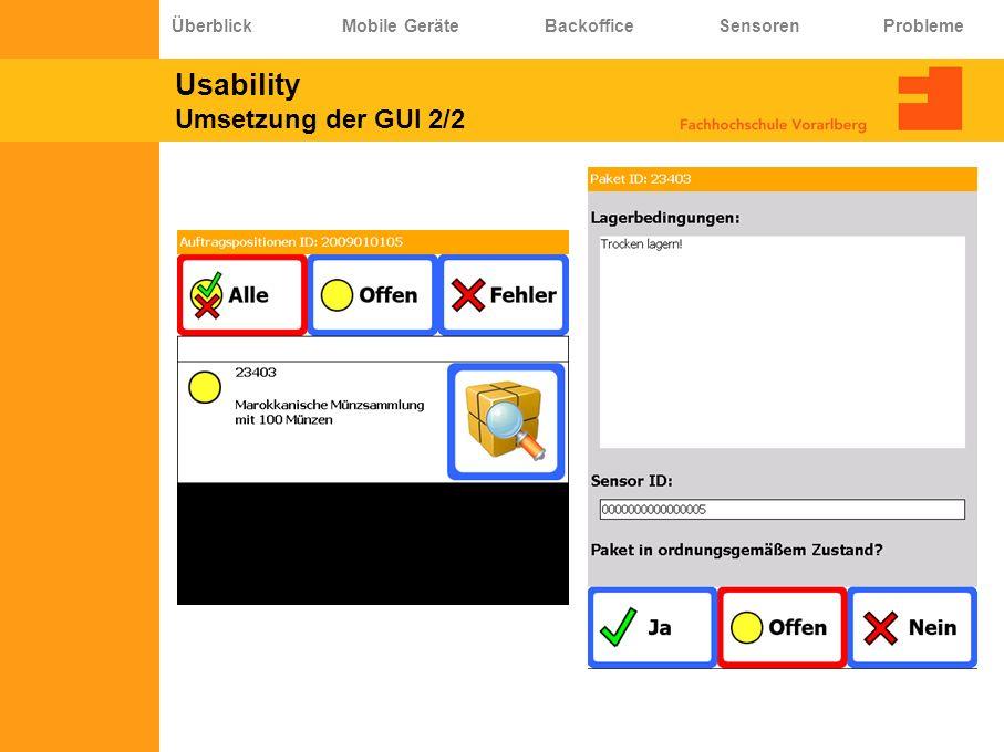 Usability Umsetzung der GUI 2/2 Überblick Mobile Geräte Backoffice Sensoren Probleme