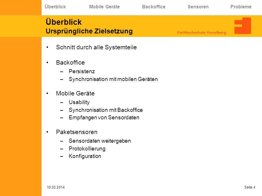 Probleme.. 10.02.2014 Seite 25 Überblick Mobile Geräte Backoffice Sensoren Probleme
