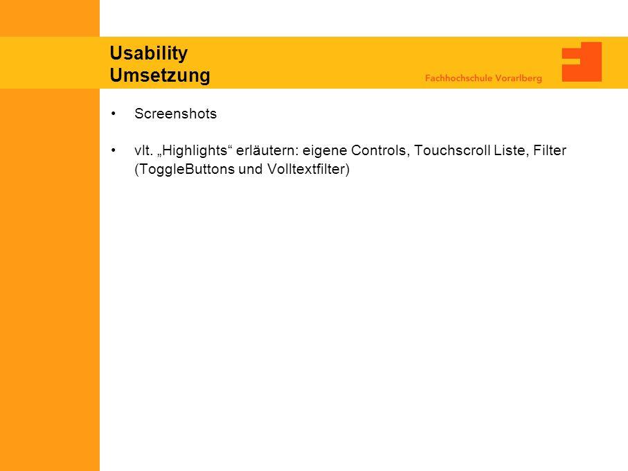 Usability Umsetzung Screenshots vlt.