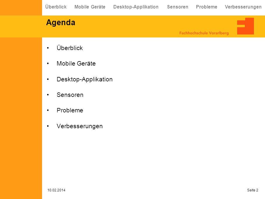 Agenda Überblick Mobile Geräte Desktop-Applikation Sensoren Probleme Verbesserungen 10.02.2014 Seite 2 Überblick Mobile Geräte Desktop-Applikation Sensoren Probleme Verbesserungen