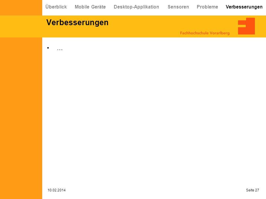 Verbesserungen … 10.02.2014 Seite 27 Überblick Mobile Geräte Desktop-Applikation Sensoren Probleme Verbesserungen