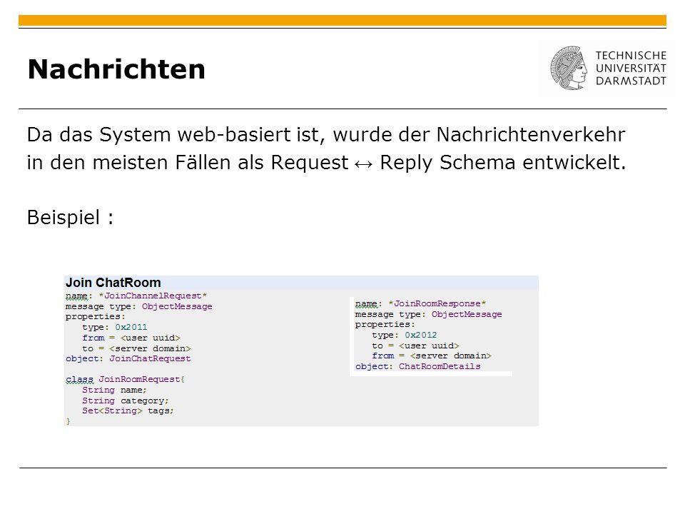 Nachrichten Da das System web-basiert ist, wurde der Nachrichtenverkehr in den meisten Fällen als Request Reply Schema entwickelt. Beispiel :