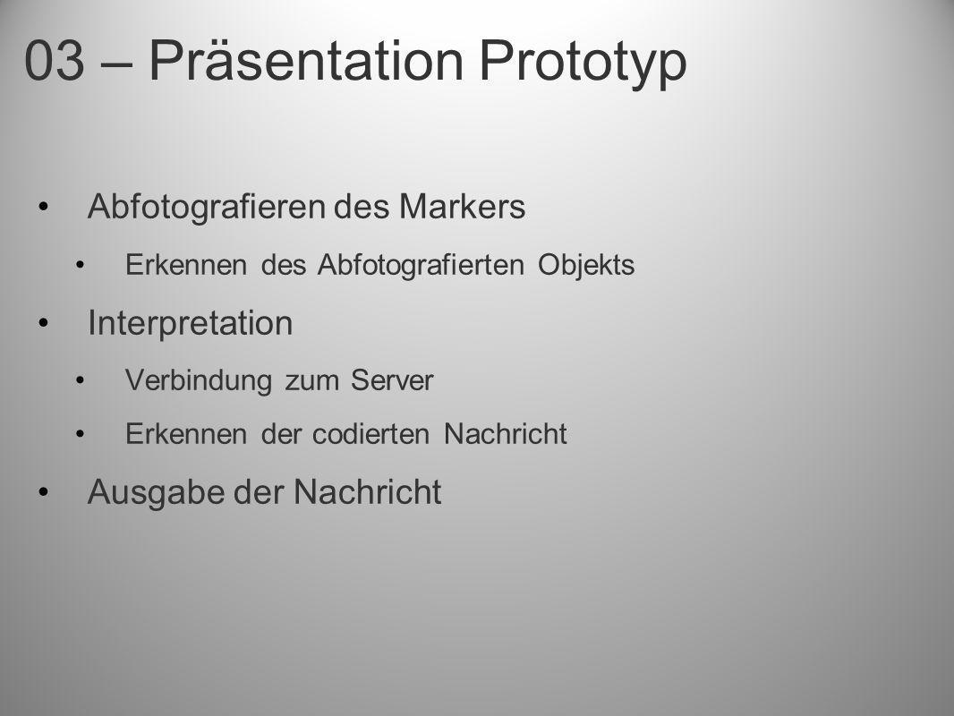 Abfotografieren des Markers Erkennen des Abfotografierten Objekts Interpretation Verbindung zum Server Erkennen der codierten Nachricht Ausgabe der Na