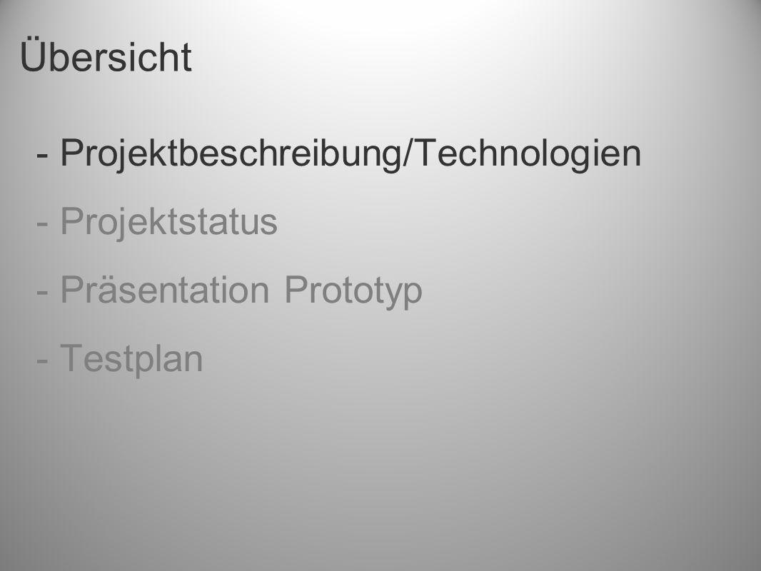 Übersicht - Projektbeschreibung/Technologien - Projektstatus - Präsentation Prototyp - Testplan