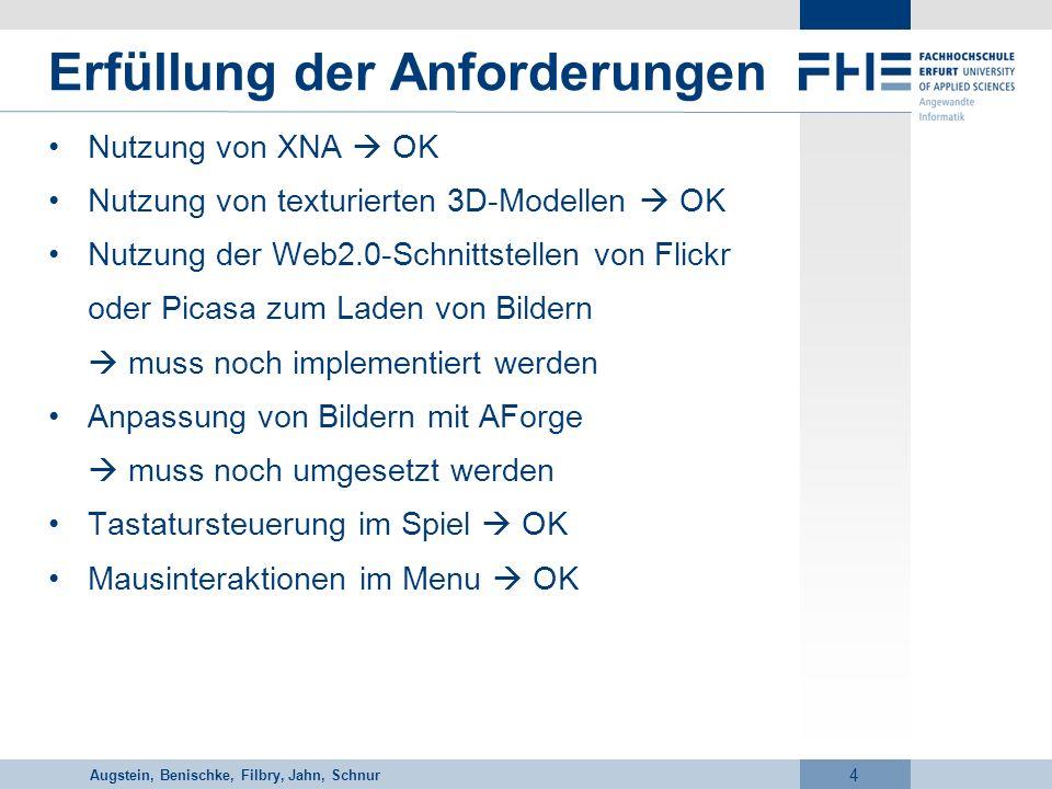 Vorname Nachname 4 Erfüllung der Anforderungen Nutzung von XNA OK Nutzung von texturierten 3D-Modellen OK Nutzung der Web2.0-Schnittstellen von Flickr