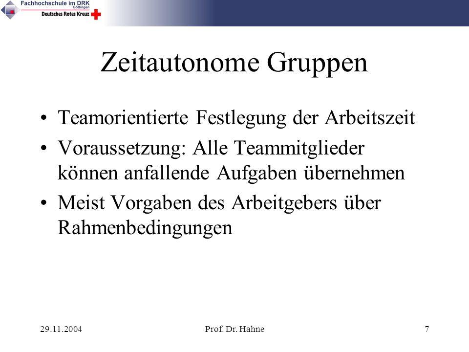 29.11.2004Prof. Dr. Hahne7 Zeitautonome Gruppen Teamorientierte Festlegung der Arbeitszeit Voraussetzung: Alle Teammitglieder können anfallende Aufgab