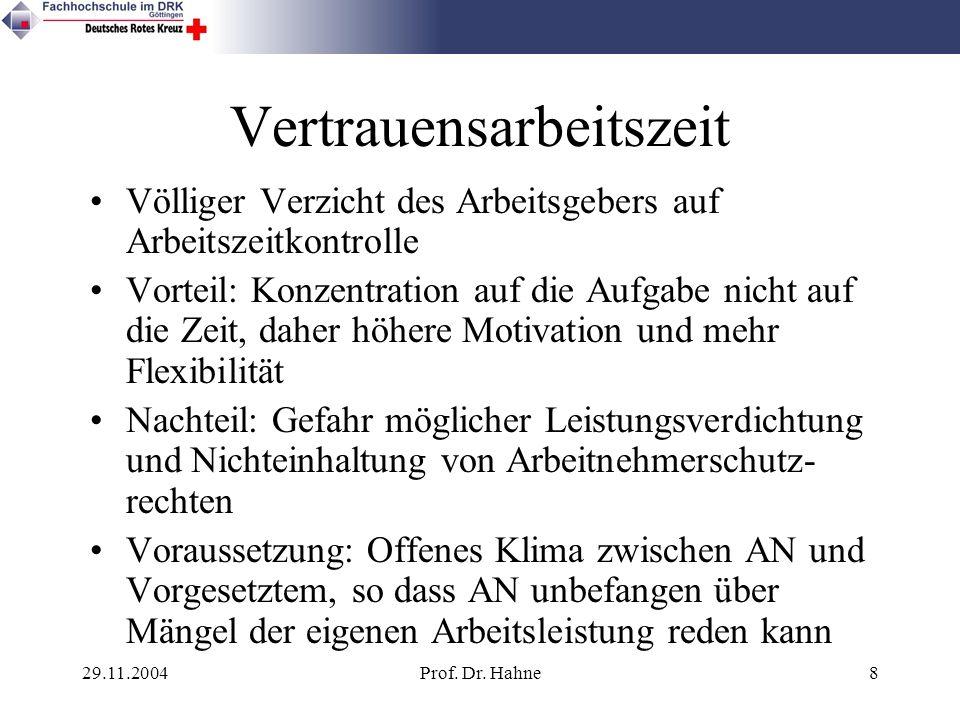 29.11.2004Prof. Dr. Hahne8 Vertrauensarbeitszeit Völliger Verzicht des Arbeitsgebers auf Arbeitszeitkontrolle Vorteil: Konzentration auf die Aufgabe n